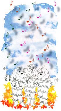 キャラクターが歌を歌っているイラスト